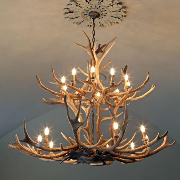 Large chandelier made from antlers